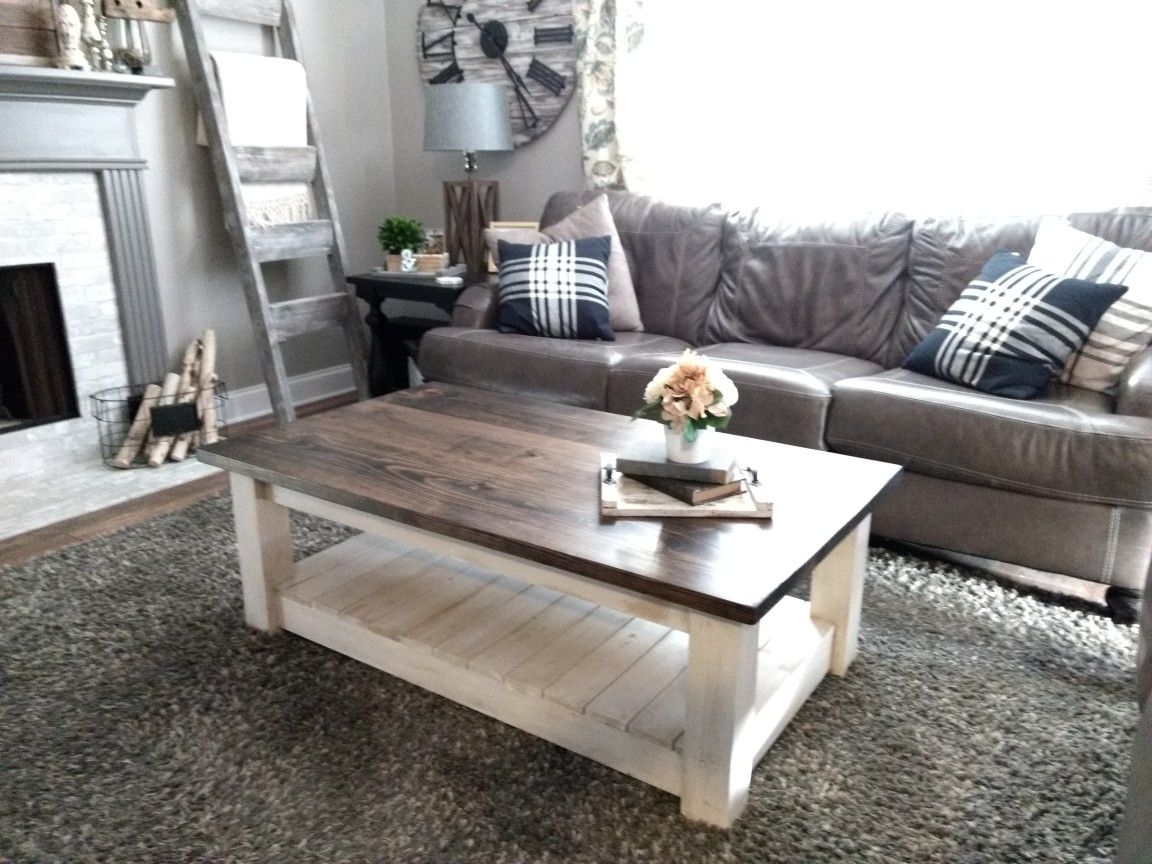 Coffee Table In Rustic Brown Top And Antique White Bottom 52 X30