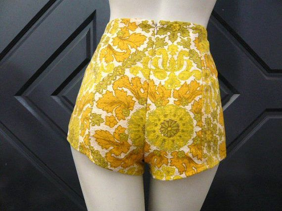HighWaisted Vintage Fabric Short Shorts by saraportelli on Etsy