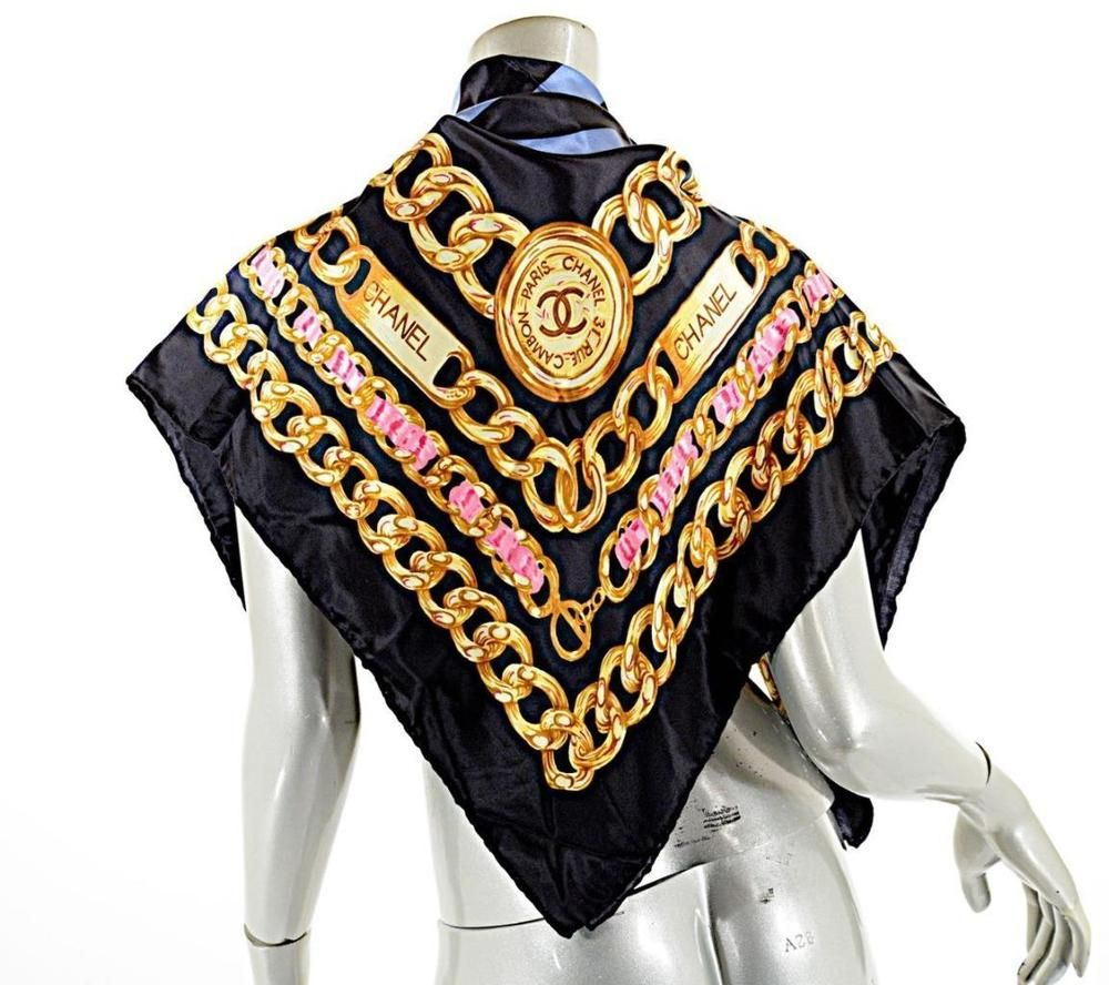 b6be3f49 CHANEL Black Silk Scarf w/ Gray Logo & Gold/Pink Signature Chain Graphic 34  x 34 #CHANEL #Scarf