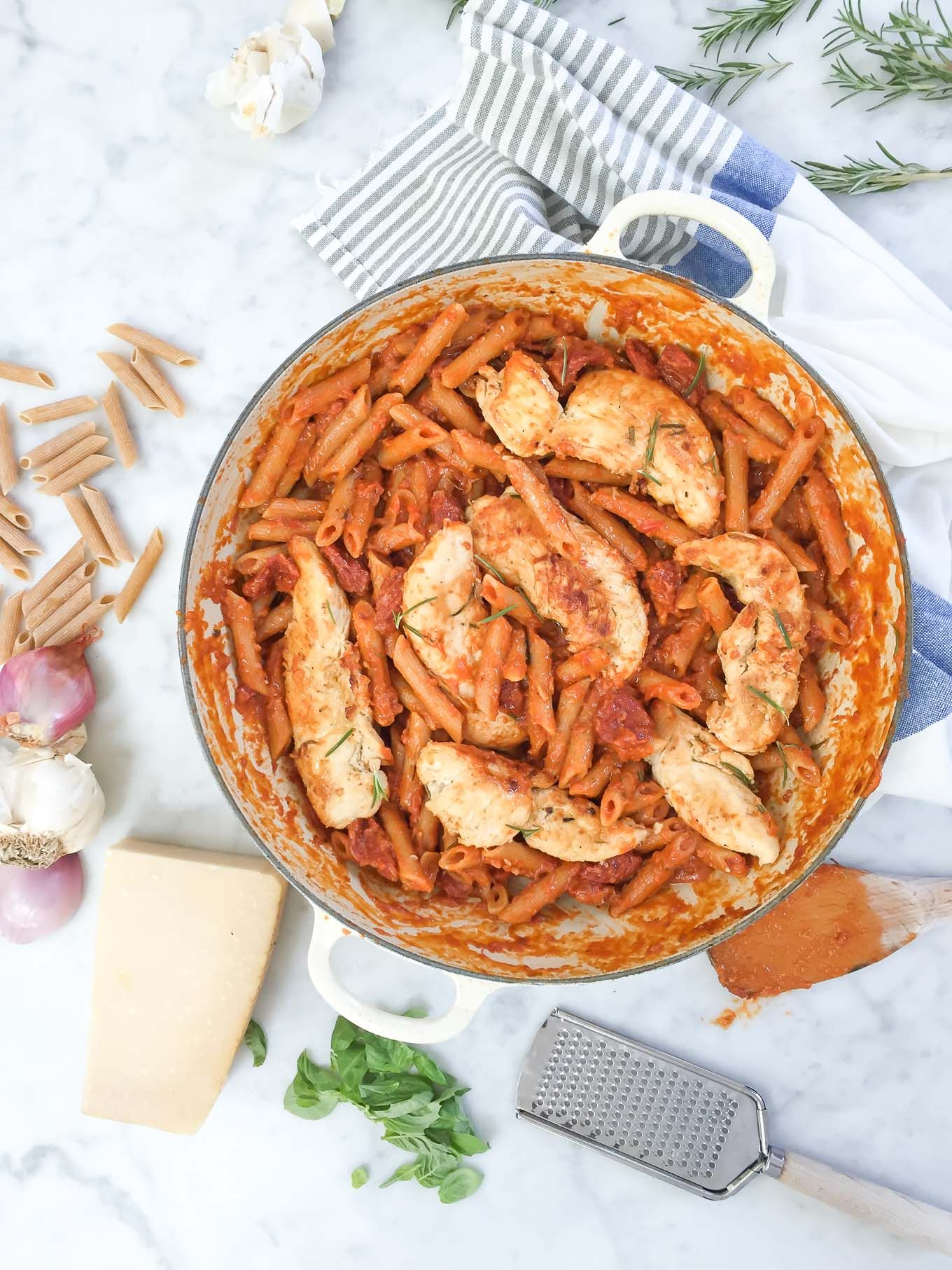 This delicious one pan pasta will change the way you make pasta! It's made with whole wheat penne, broth, and a jar of creamy vodka sauce!