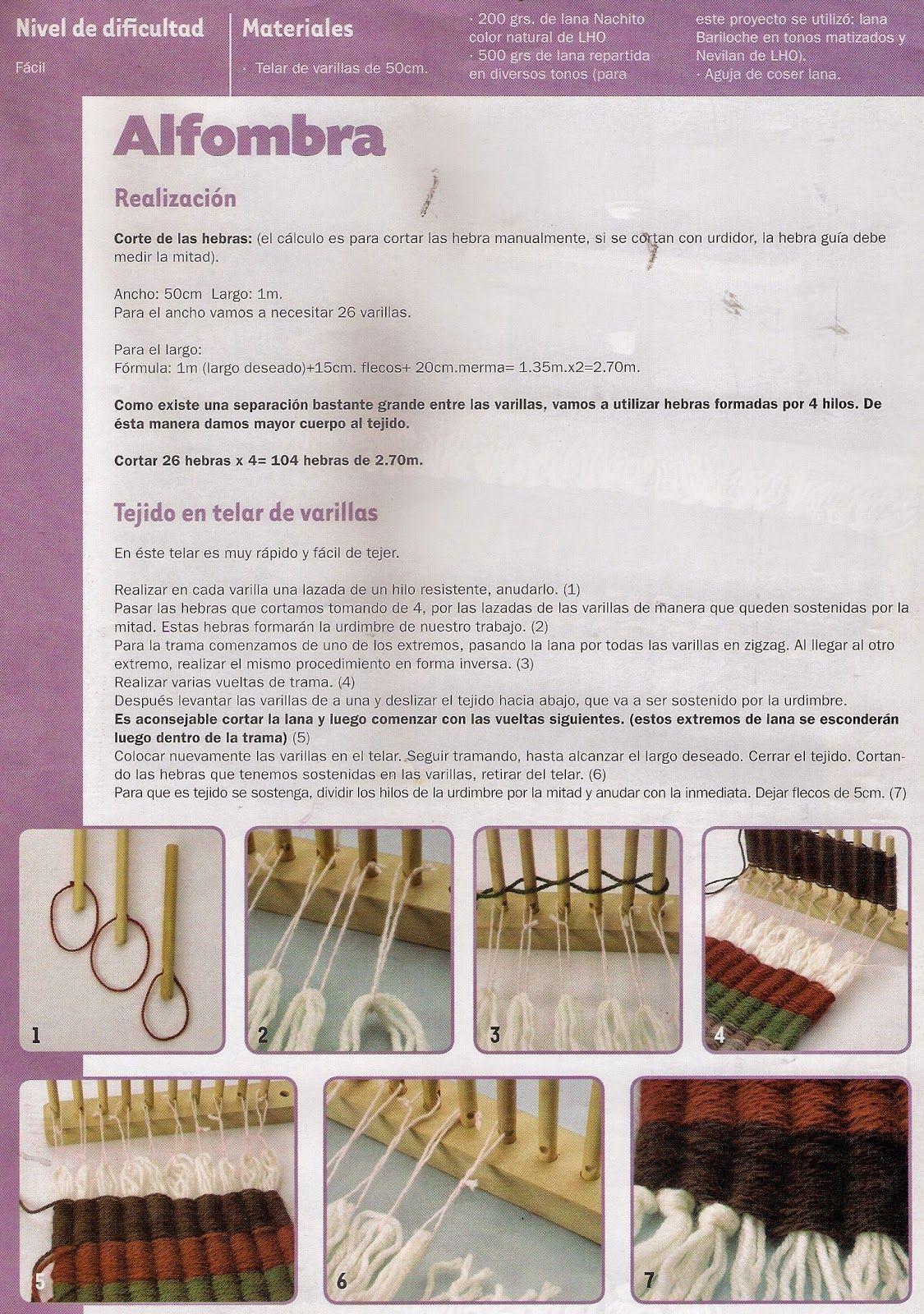 COMO TEJER EN TELAR DE VARILLAS tejido ideal para hacer pequeñas alfombras 8e51a668286