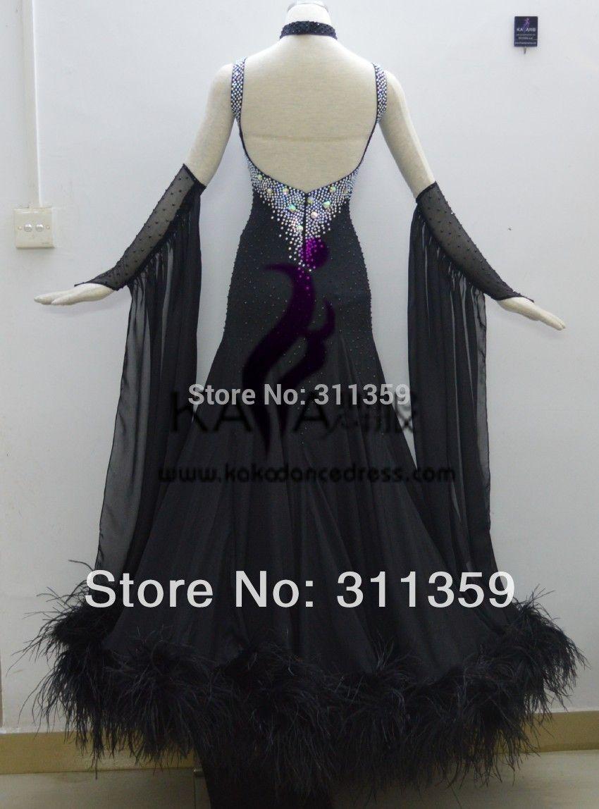 KAKA DANCE B1411,2014 New Style!Black Feather Ballroom Standard Dance Dress,Waltz Competition Dress,Women,Ballroom Dance Dress