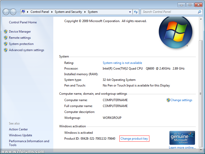windows 7 32 bit activation key