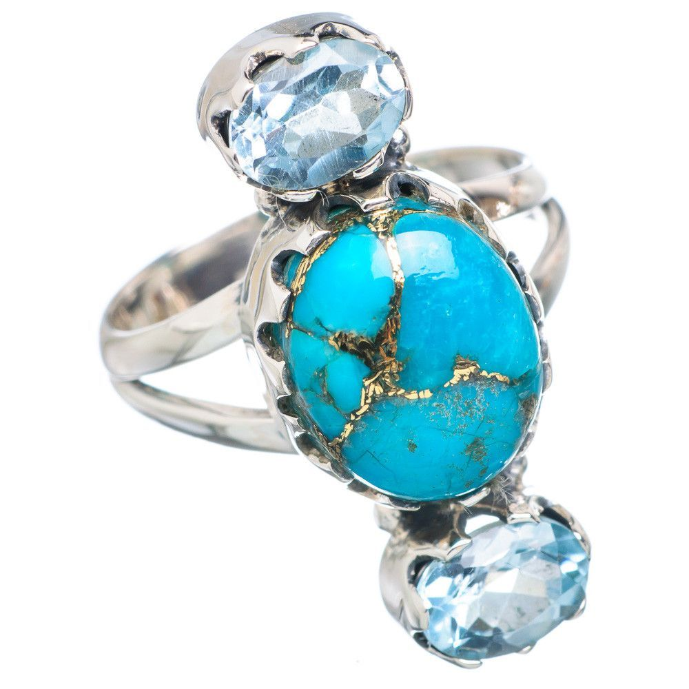 Blue Copper Composite Turquoise, Blue Topaz 925 Sterling Silver Ring Size 8 RING737461