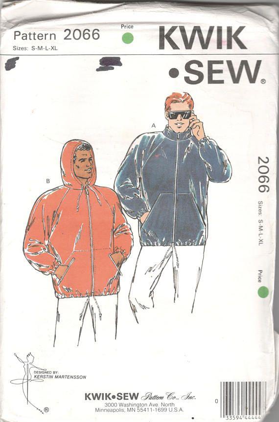 Kwik Sew 2066 Mens Windbreaker Rain Jacket Pattern Hoodie Muff ...