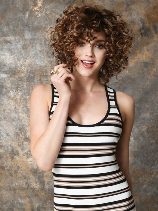 The curls are touchable, soft and bouncy. Color Hot Mocca Rooted