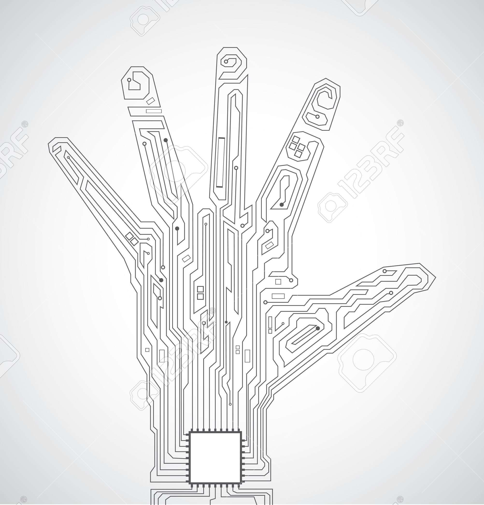 Circuit Board Pattern In The Shape Of Hand Palm Cities Circles Ultrasonic Transducer Circuitultrasonic News Royalty Free
