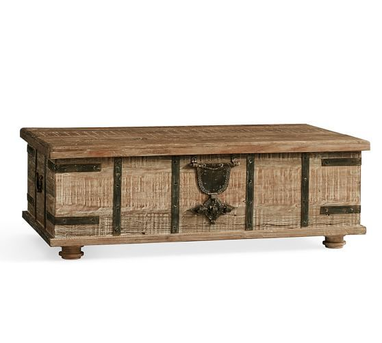 Kaplan Global Trunk Coffee Table, Reclaimed Whitewash, Large