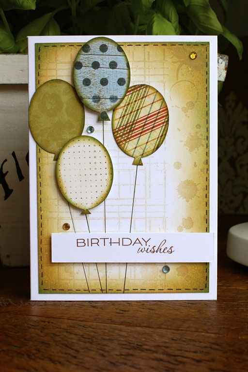 Birthday Card For A Male Friend Drew Round An Oval Template Onto Different Patterned Papers Then Added The Bit At Bottom To Make Balloon Shape