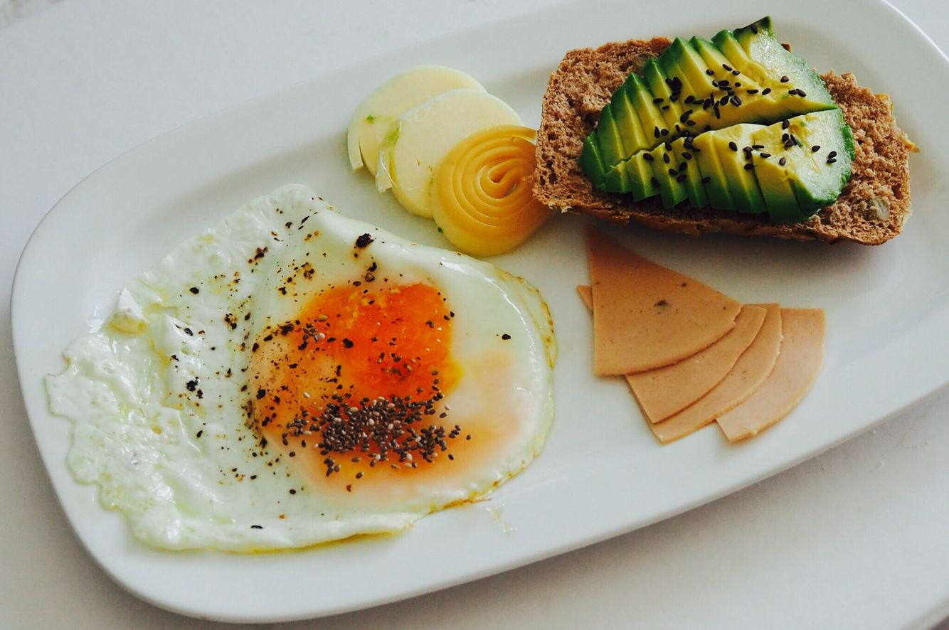 Avo+ free range eggs with chia seeds cheese & soya salami #vegetarian #ideas