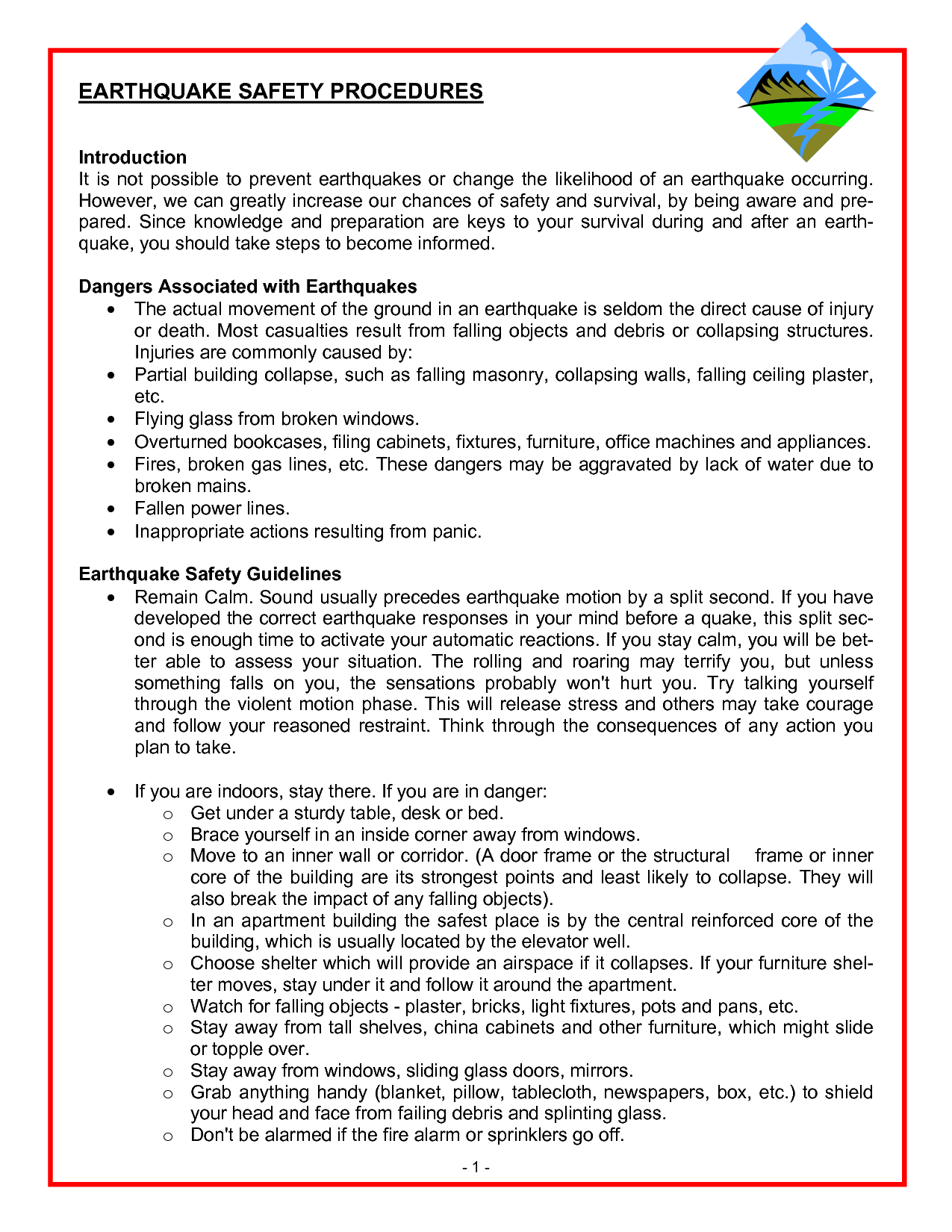Earthquake Drill Procedures