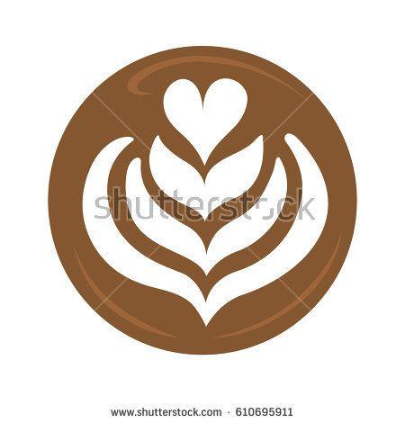Tulip Heart And Rosetta Latte Art Coffee Design For Logo Icon Symbol