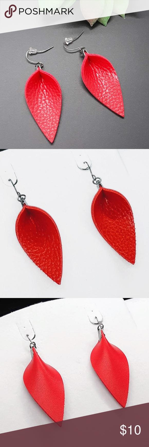 Textured Leather Teardrop Earrings Red Teardrop Earrings Teardrop Shape Earrings