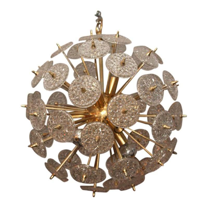 Photo of KA1306 BELGIAN SNOWFLAKE CHANDELIER – 13 Length x 13 Width x 13 Height / FROSTED TEXTURED CRYSTAL / POLISHED NICKEL METAL FINISH