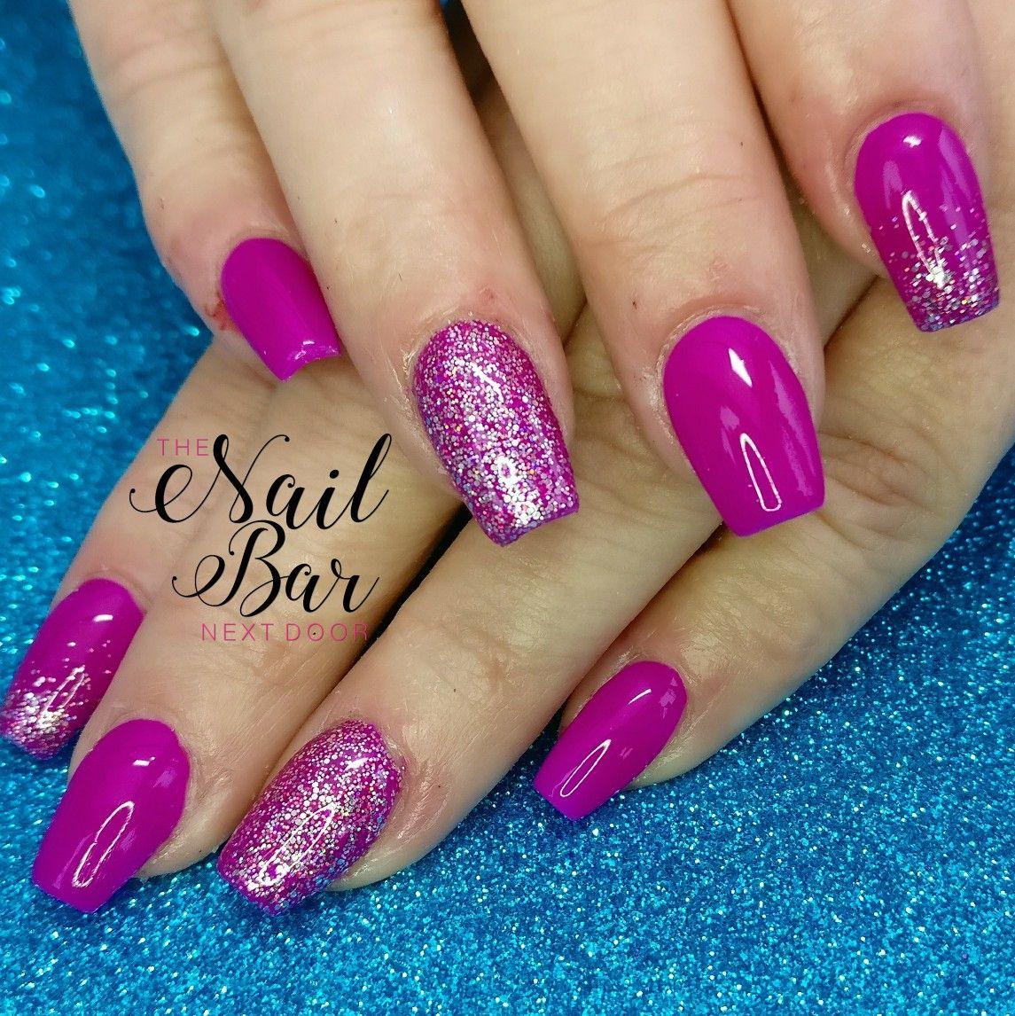 Neon fuchsia pink, coffin acrylic nails | My work | Pinterest