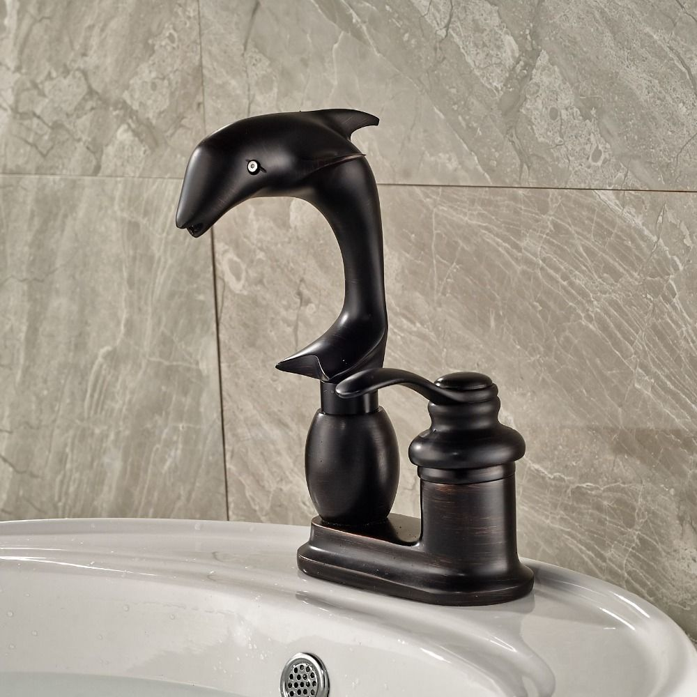 Deck Mounted Dolphin Shape Bathroom Sink Basin Faucets Chrome Brass Mixer Taps