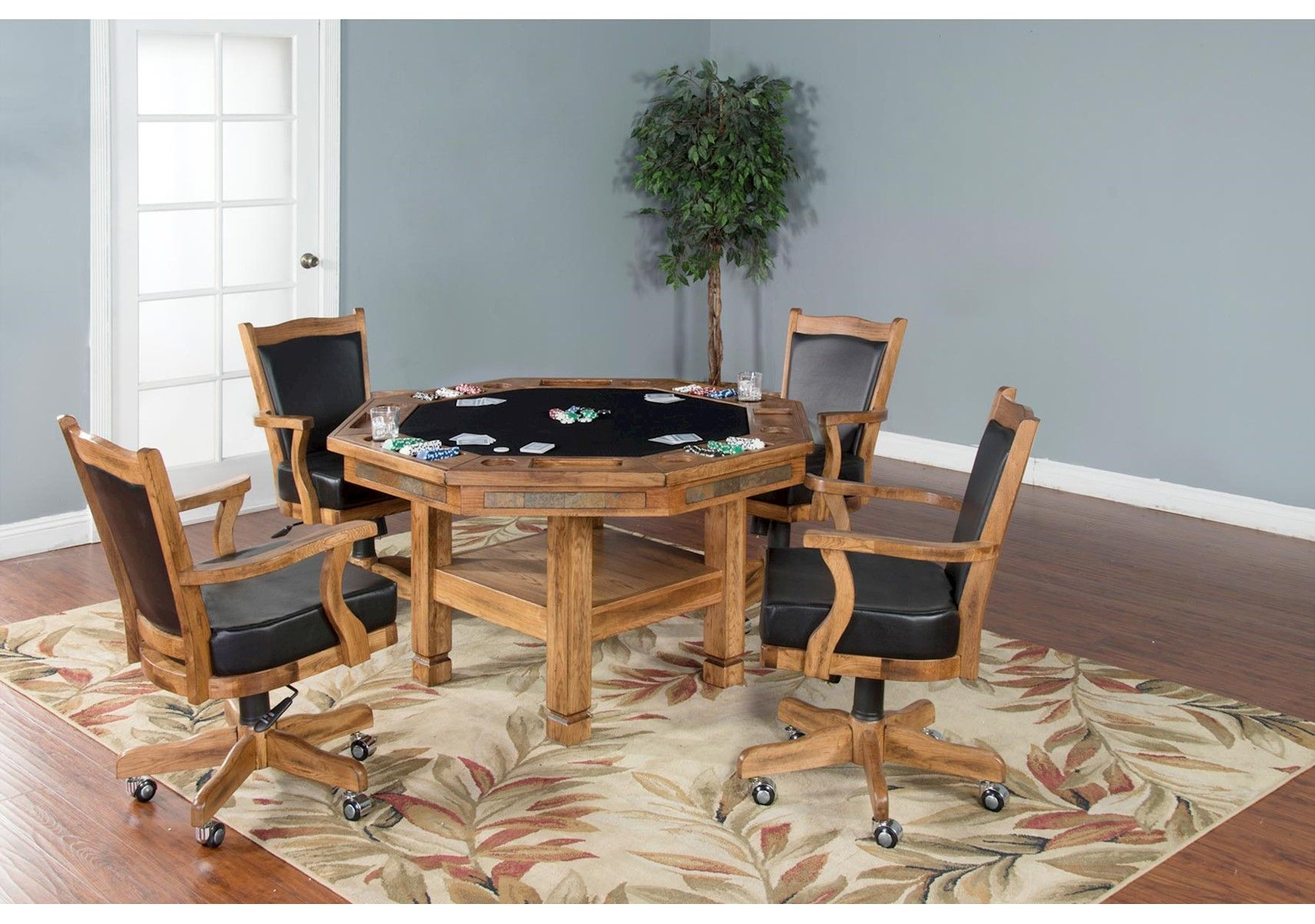 Lacks Santa Fe 5 Pc Game Table Set Rustic Brown Rustic  # Muebles Santa Fe