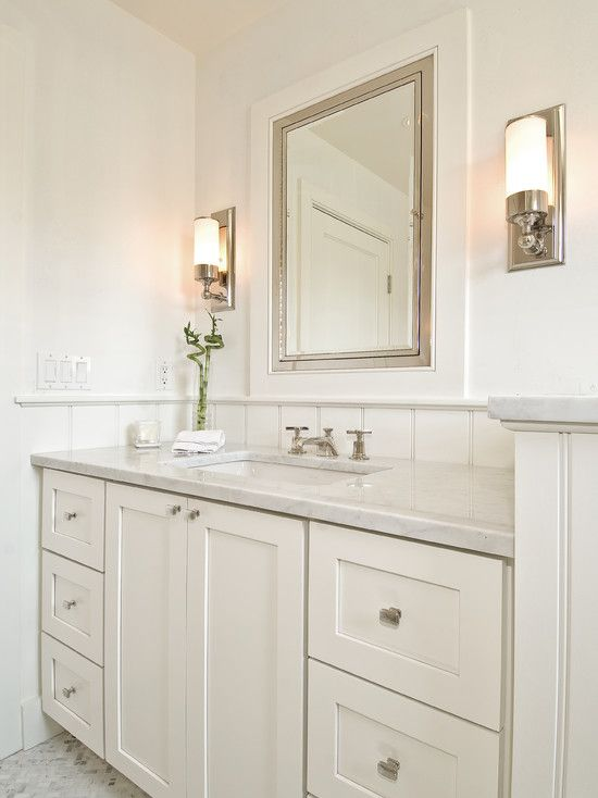 Hampton design monochromatic bathroom design with white for Monochromatic bathroom designs