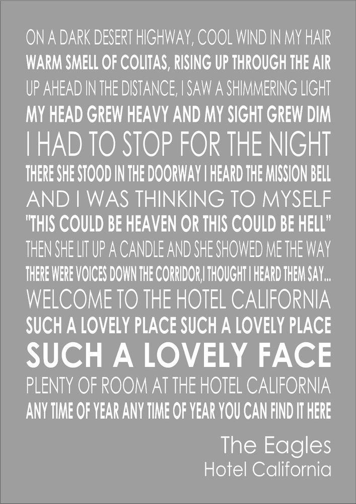Lyric lyrics drift away : Hotel California - The Eagles Word Wall Art Typography Words Song ...