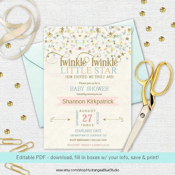 image regarding Free Printable Twinkle Twinkle Little Star Baby Shower Invitations named Pin upon Twinkle Twinkle