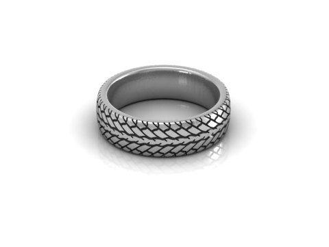 car tire tread wedding band ring 14k white gold 7mm by minasyani 79500 - Tire Wedding Rings