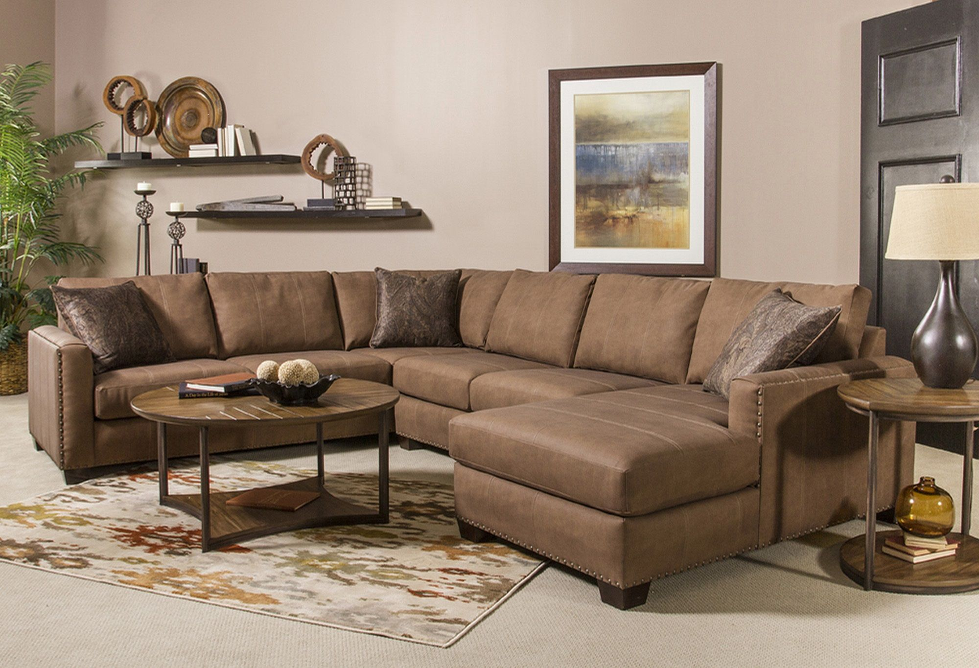 Aiden bonded leather sectional sofa group a nubuck cimmaron