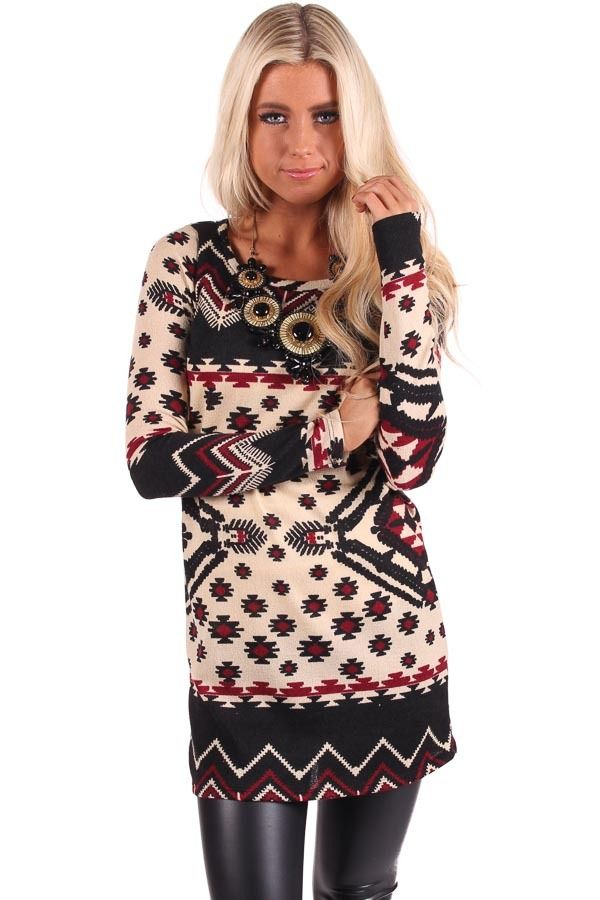 Lime Lush Boutique - Taupe Sweater Dress with Aztec Pattern, $29.99 (http://www.limelush.com/taupe-sweater-dress-with-aztec-pattern/)