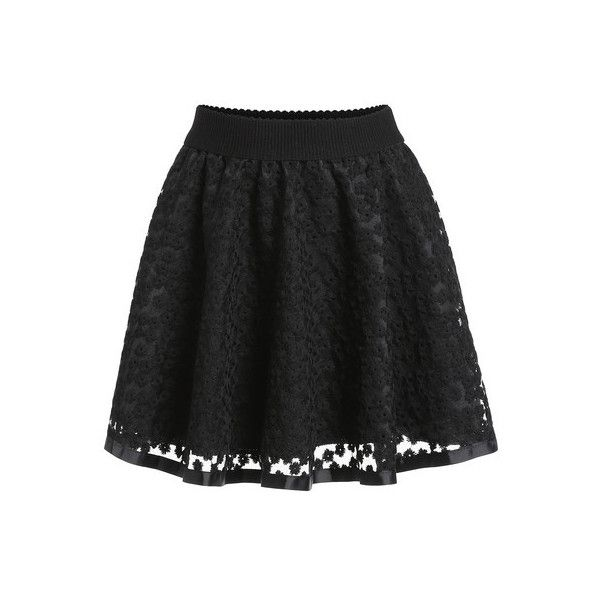 SheIn(sheinside) Black Embroidered Lace Flare Skirt (23 AUD ...