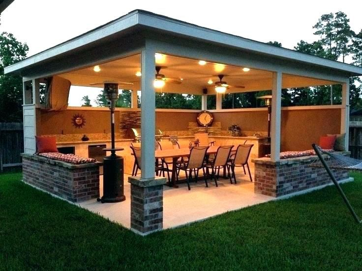backyard covered patio plans fire pit