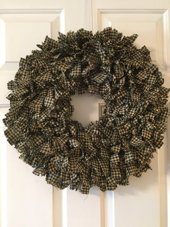 Photo of Green Homespun Rag Wreath, Primitive Wreath, Farmhouse Wreath, Country Wreath, Fabric Wreath, Screen Door Wreath, Front Door Wreath