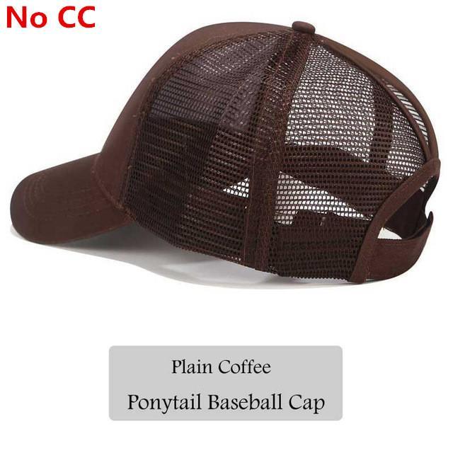 289eba3ba31 2018 CC Glitter Ponytail Baseball Cap Women Snapback Hat Summer Messy Bun  Mesh Hats Casual Adjustable Sport Caps Drop Shipping