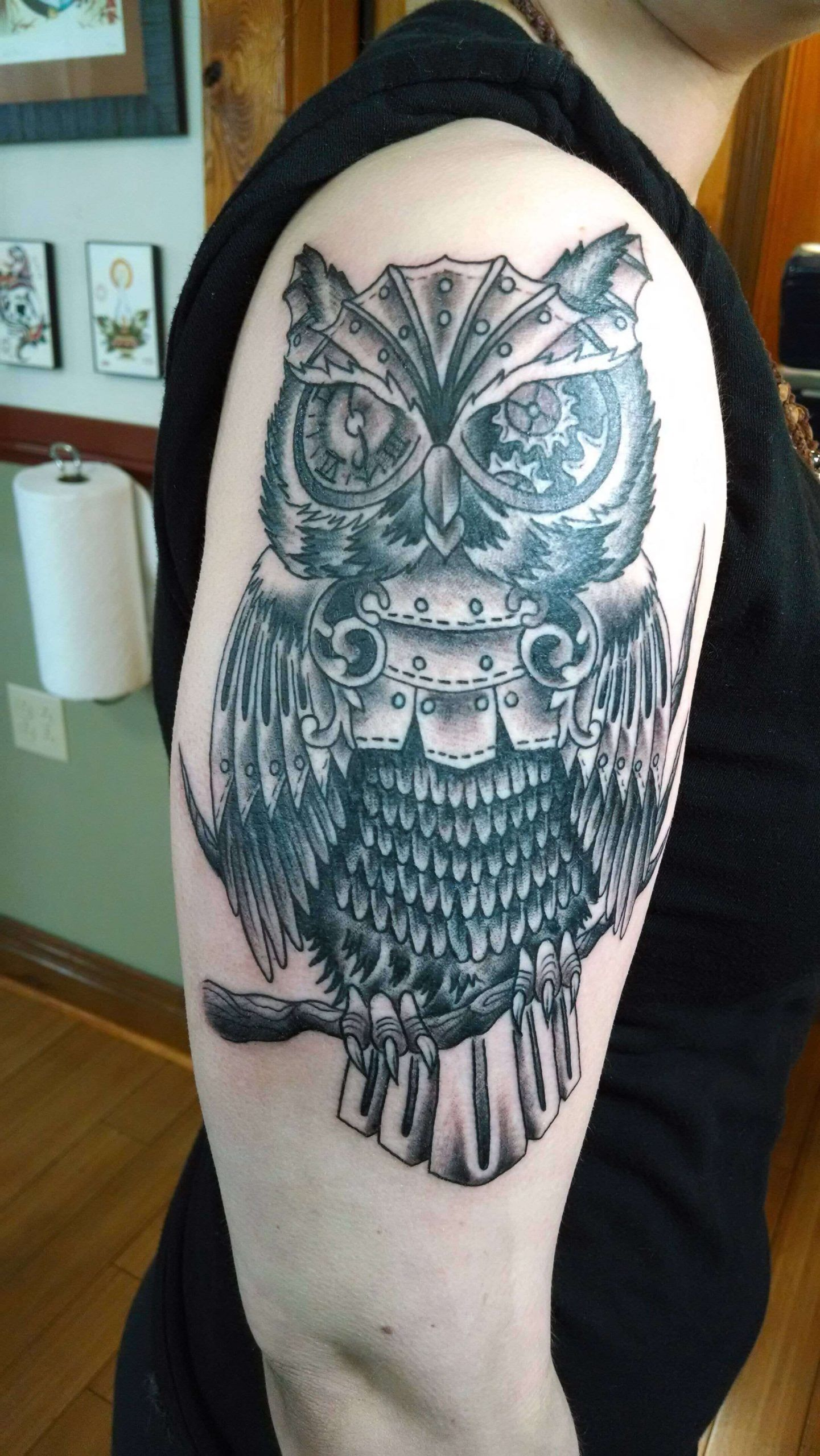 This Is A Mechanical Steampunk Owl Tattoo I Designed For Niels Huegen Copyright Www Samphillips Co Nz Owl Tattoo Design Owl Tattoo Chest Zombie Tattoos