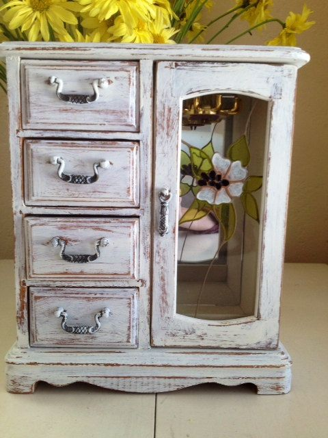 Sale Shabby Chic Vintage Jewelry Box Antique Cottage White Ring Necklace Jewelry Holder Organizer Muebles Pequenos Muebles Organizadores