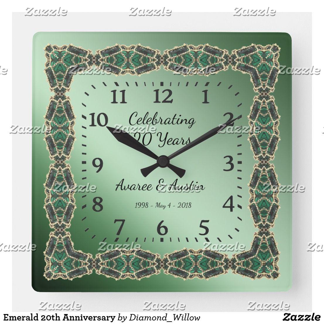 Emerald 20th Anniversary Square Wall Clock