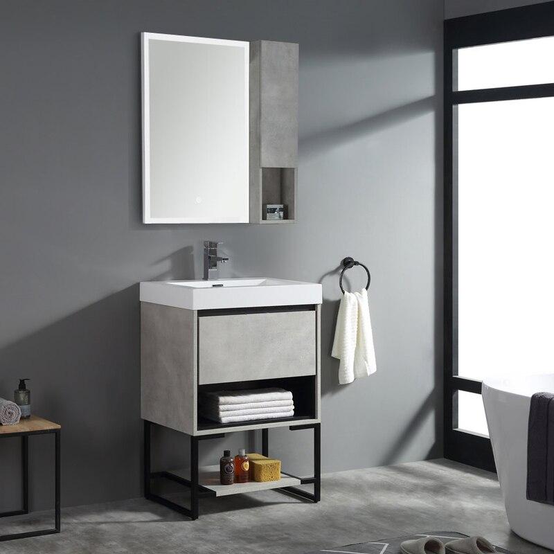 "24"" Bathroom Vanity w/ Polymarble Top Mount Basin, Square"