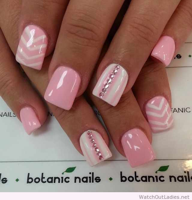 Pink light nails with diamonds
