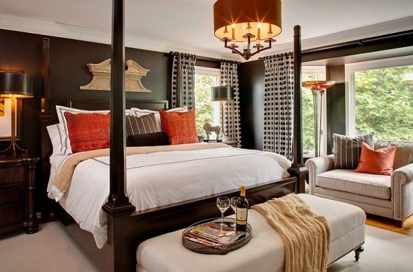 Orange accents for the black and white bedroom | Master Bedrooms in ...