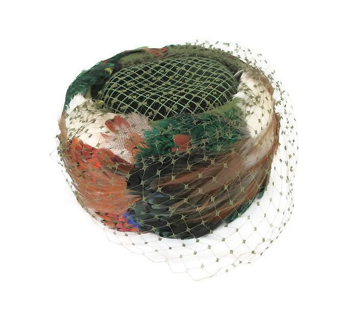 Coralie Feather Hat, Pillbox Hat, Vintage Hat, Pheasant Feathers, Mesh Veil, Orange, Red, Green, Brown, Vintage Fashion, Vintage Accessories