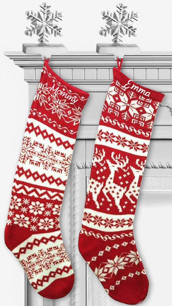 another totally in the budget option knit christmas stockings red white renindeer or - Red And White Christmas Stockings