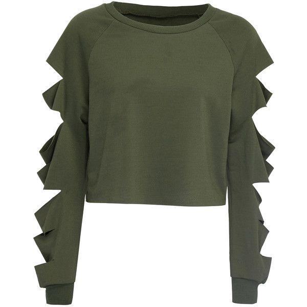 Women Crop Tops Cut Off Long Sleeve Dark Green Sweatshirts Hollow Ripped Pullover