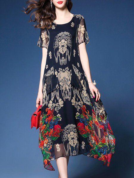 584d24d20bb Shop Midi Dresses - Black Floral-print Floral H-line Short Sleeve Midi Dress  online. Discover unique designers fashion at StyleWe.com.