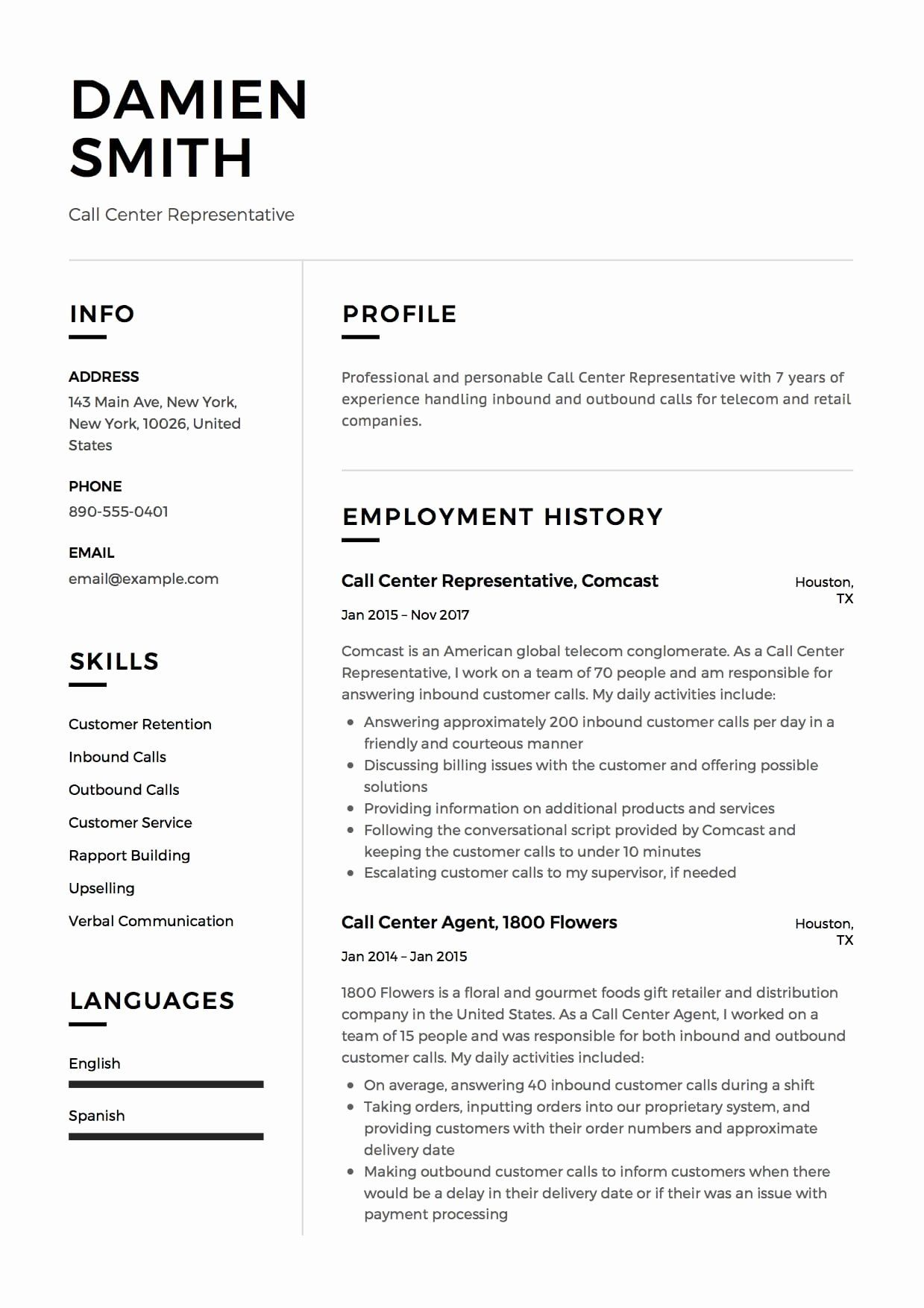 Call Center Representative Resume Elegant Call Center