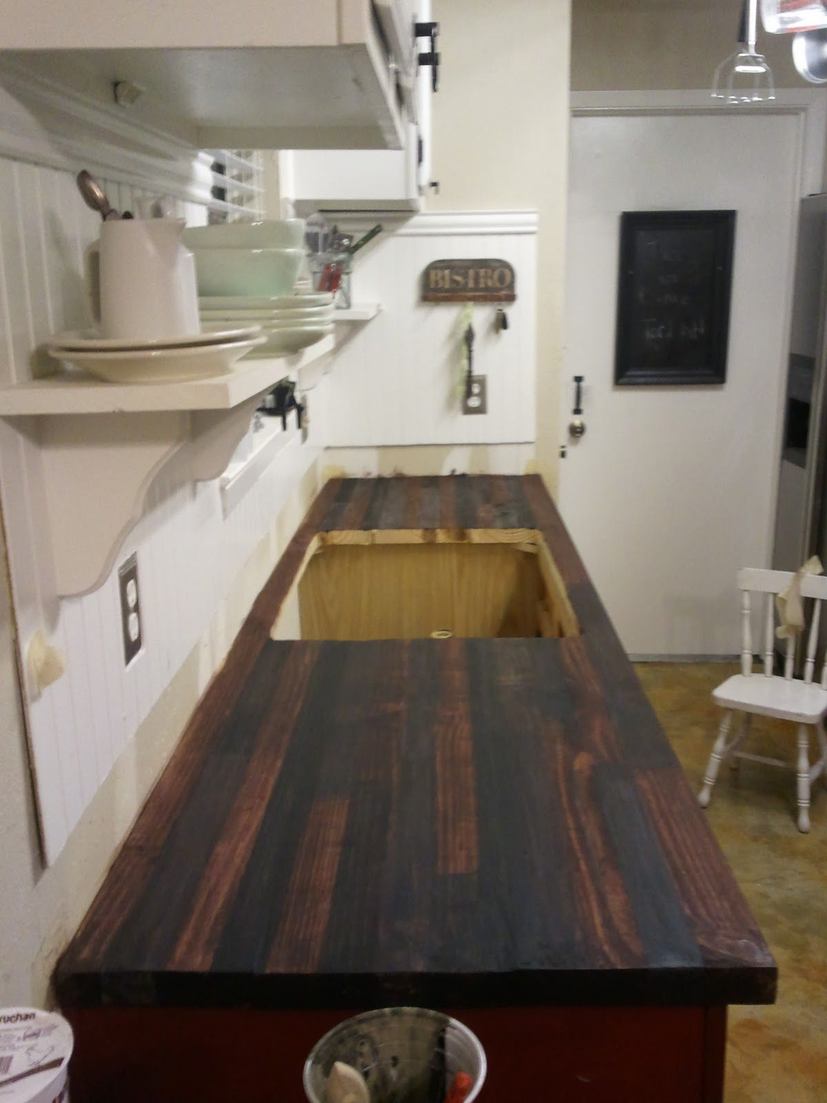 Diy Faux Butcher Block Countertops Tutorial Dengan Gambar Ide Dekorasi Rumah