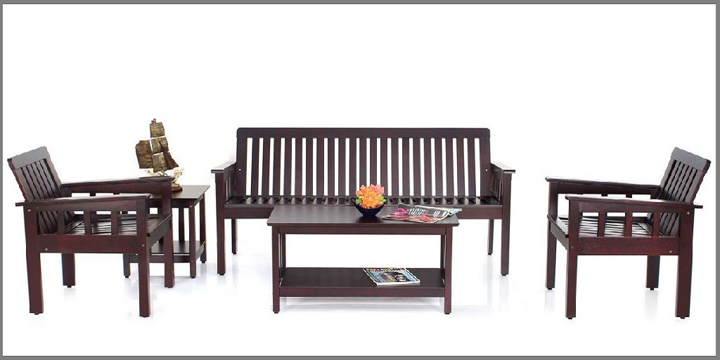 Wooden Sofa Set Without Cushion In 2020 Wooden Sofa Set Wooden Sofa Designs Sofa Set