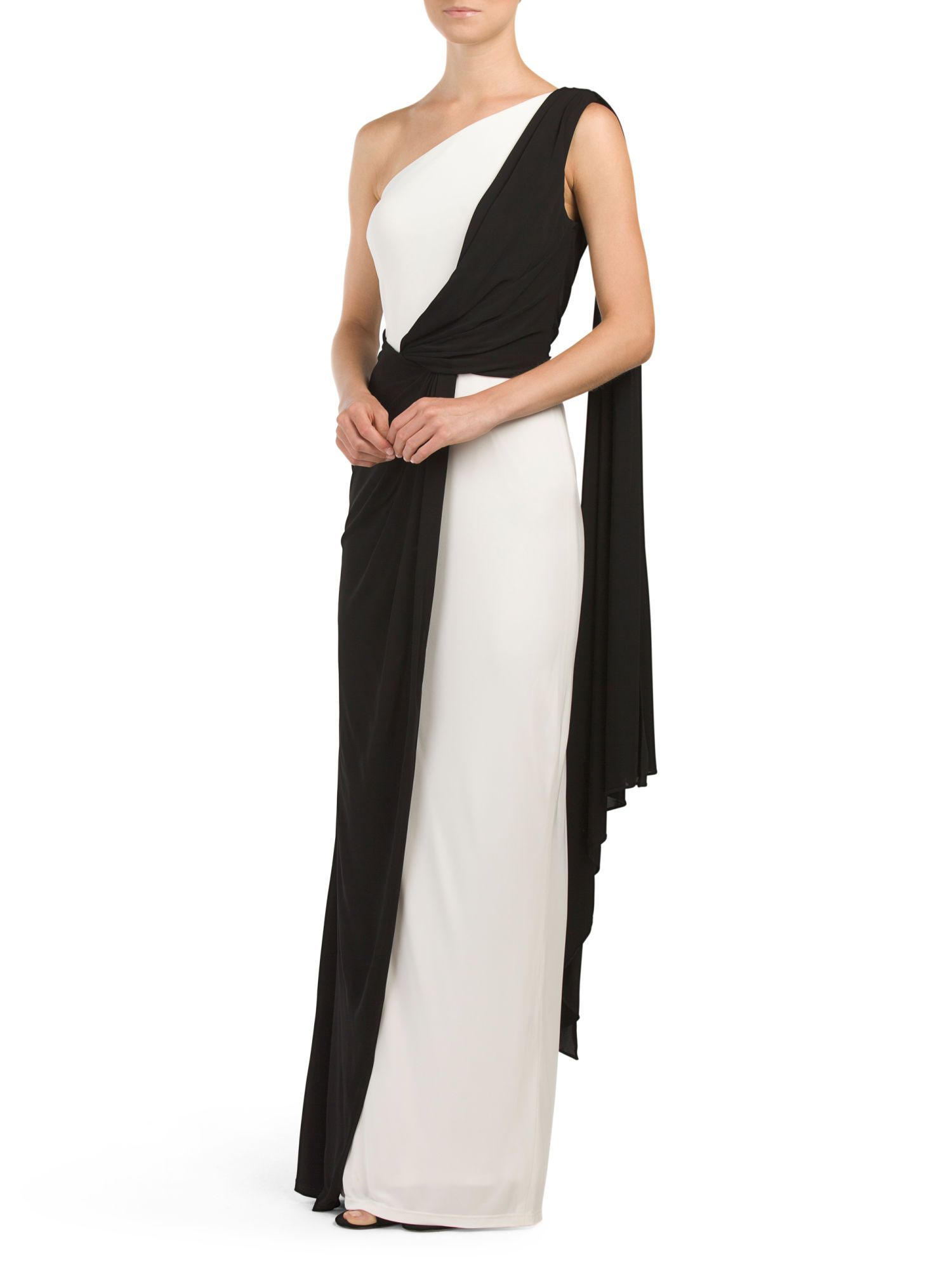DAVID MEISTER Jersey One Shoulder Colorblock Gown $79.99 | TJ Maxx ...