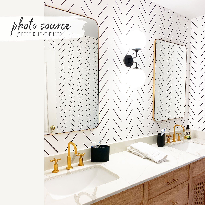 Modern Delicate Herringbone Removable Wallpaper In 2020 Removable Wallpaper Herringbone Wallpaper Bathrooms Remodel