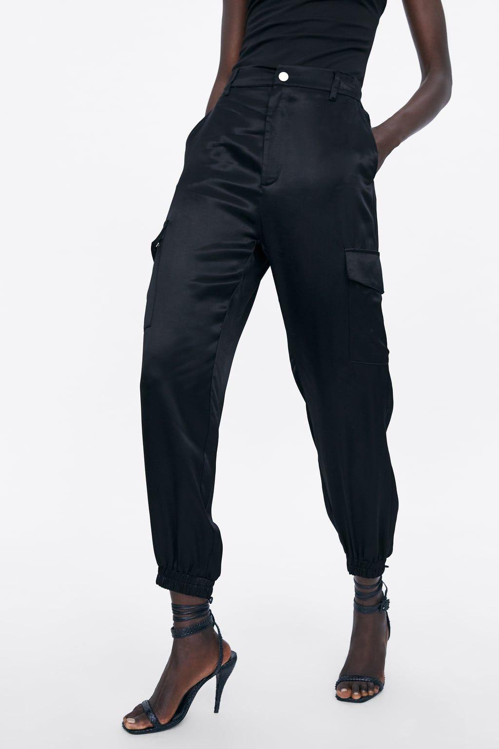 pantalon cargo femme noir zara