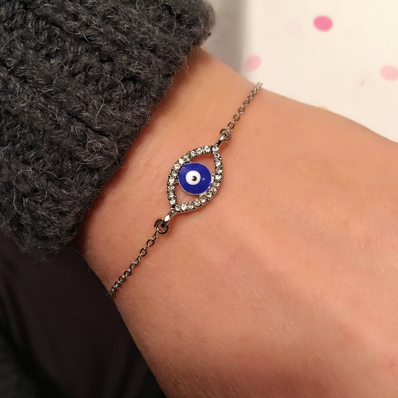 Photo of Evil Eye Rhinestone Bracelet, Silver Amulet,  Rhinestone Blue Bracelet, Blue Evil Eye Charm, Good Luck Jewelry, Happy Valentines Day Gifts,