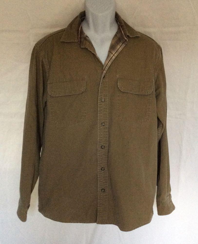 83f41c0aa3a LL Bean Men s Flannel Lined Shirt Jacket LS Made Canada OMS96 Olive Sz  Medium  LLBean  ButtonFront