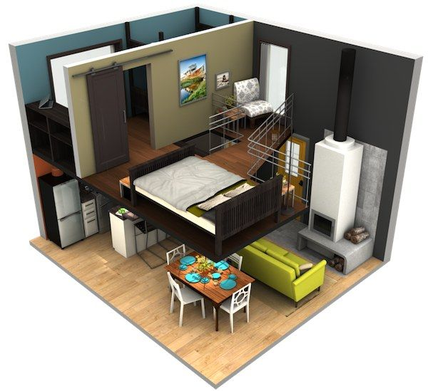 malissa tack s tiny house big loft design in 3d tiny house pins tiny homes baumhaus innen. Black Bedroom Furniture Sets. Home Design Ideas